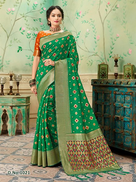 Green - Orange Pattern Banares Silk Saree