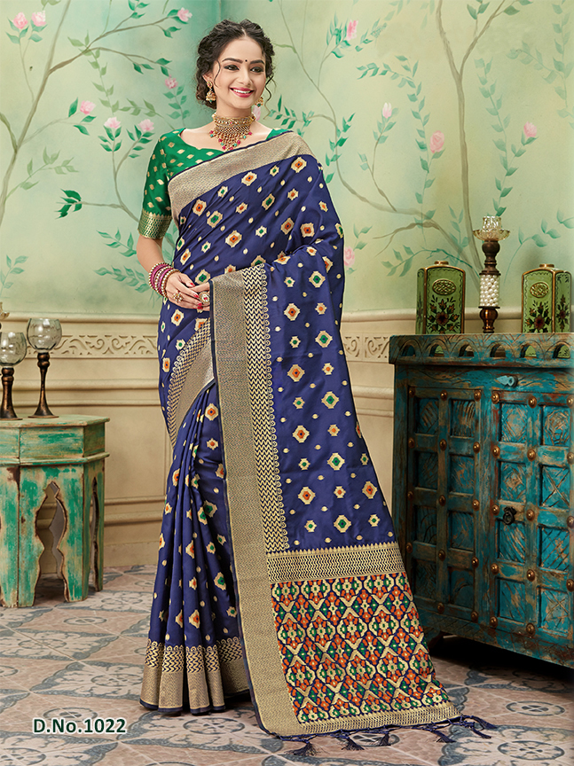 Navy - Orange Pattern Banares Silk Saree