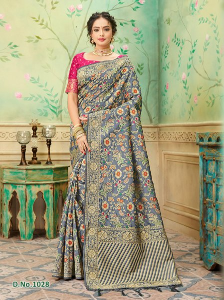 Steel Blue striped Border  Banares Silk Saree