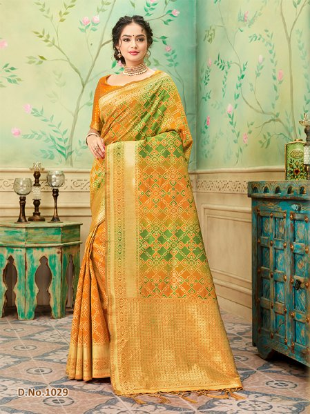 Orange Patterned Banares Silk Saree