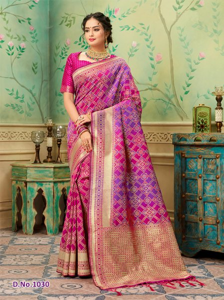 Magenta Patterned Banares Silk Saree