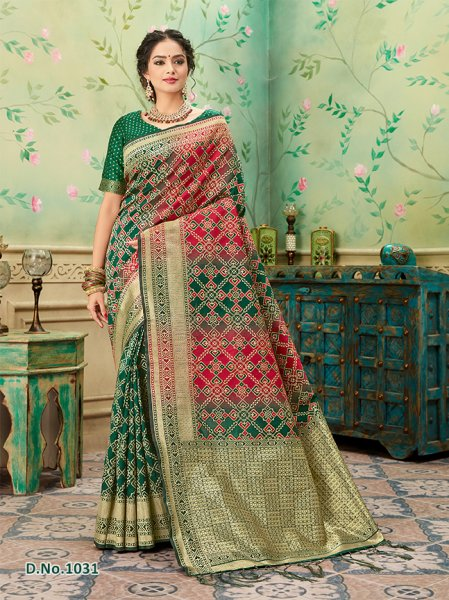 Dark Green - Red Patterned Banares Silk Saree