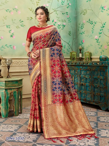Red - Navy Patterned Banares Silk Saree