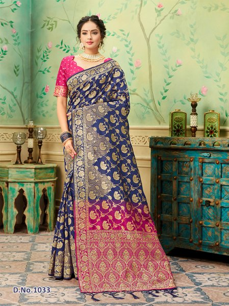 Navy - Magenta Patterned Banares Silk Saree