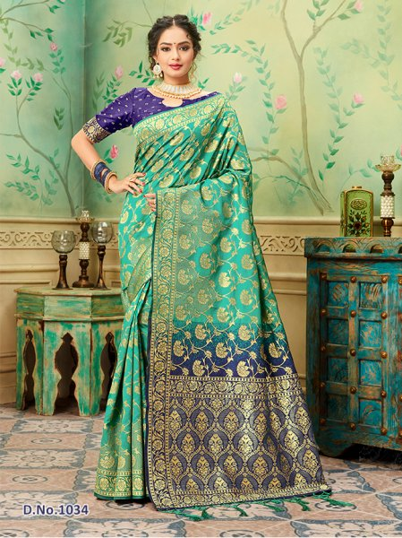 Sky Blue - Navy Pattern Banares Silk Saree