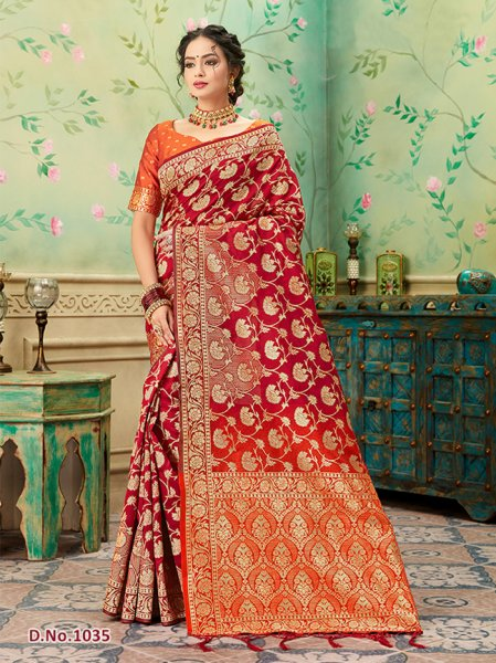 Red - Orange Pattern Banares Silk Saree