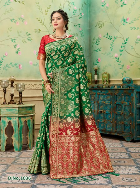 Green - Red Pattern Banares Silk Saree