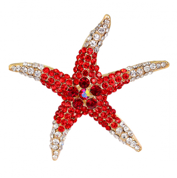 Red Starfish Brooch