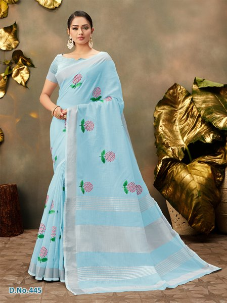 Light Blue Floral Cottonfeel Sari