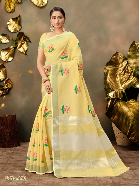 Light Yellow Floral Cottonfeel Sari