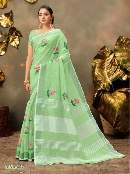 Light Green Floral Cottonfeel Sari