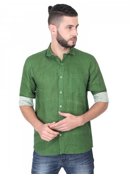 Harry Mens Green Linen Casual Shirt