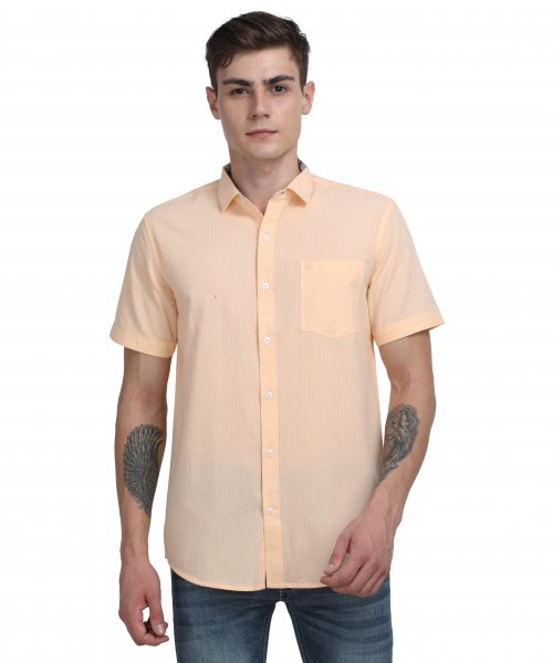 Arnold Mens Light Orange Casual Shirt