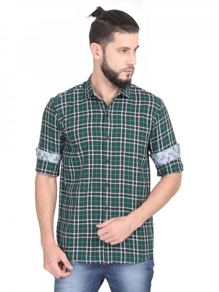 Edgar Mens Green Check Casual Shirt