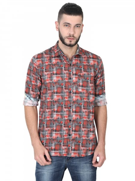 Homer Mens Red Printed Casual Shirt