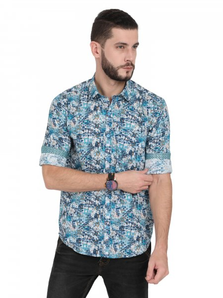Agor Mens Printed Casual Shirt