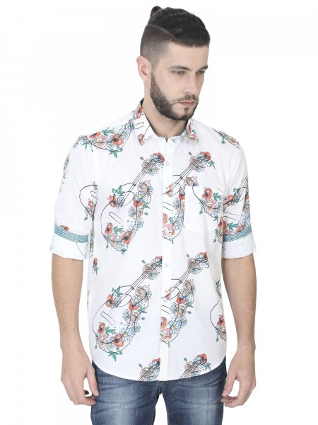 Guitar Mens Printed Casual Shirt