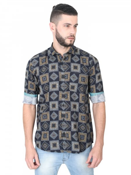 Holland Mens Geometric Casual Shirt