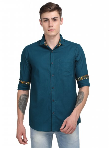 Casper Mens Teal Casual Shirt