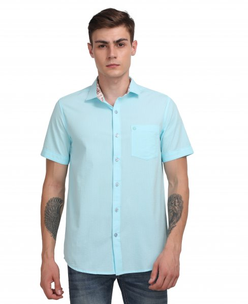 Alfred Mens Sky blue Casual Shirt