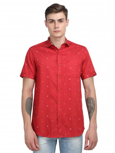 Albert Mens Red Casual Shirts