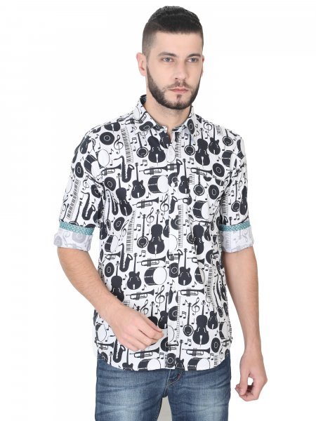 Mike Mens Musical Instruments Printed Shirt