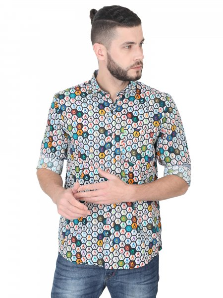 Hexagon Mens Printed Casual Shirt