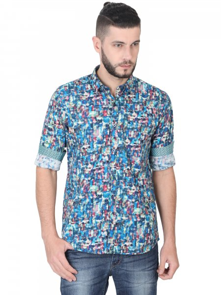 Thomas Mens Blue Printed Casual Shirt