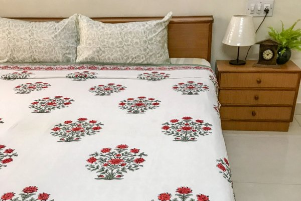 Hand Block Printed Cotton DOHAR | Red carnation bush