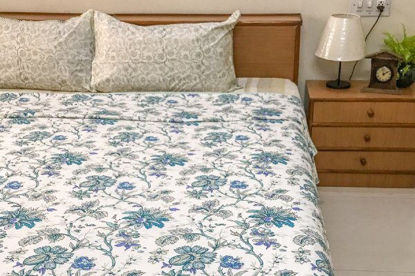 Cotton DOHAR | Blue-lavendar floral pattern