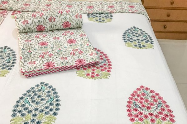 Hand Block Printed Cotton DOHAR (Single) | Pink & Blue bushes with Parrot