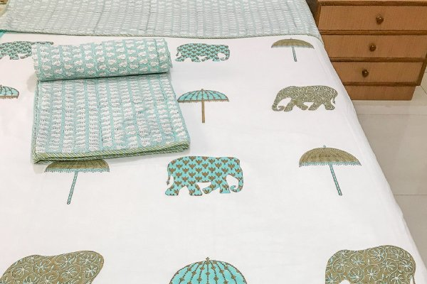 Hand Block Printed Cotton DOHAR (Single) | Blue Elephant & Umbrella