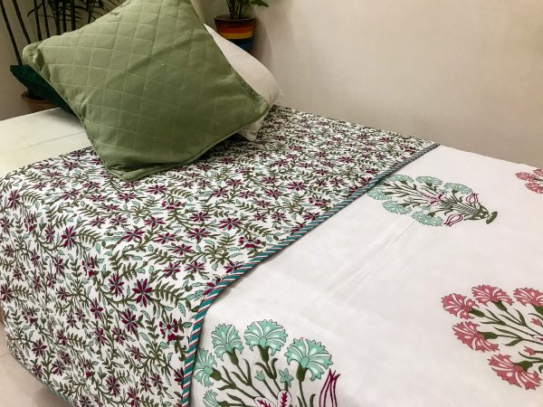 Hand Block Printed Cotton DOHAR | Green & Pink Carnation Bunch