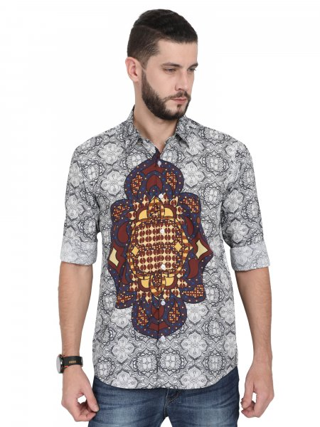 Mandala Mens Grey Party Shirt