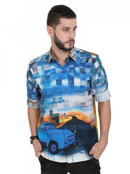 Blue Racer Mens Party Shirt
