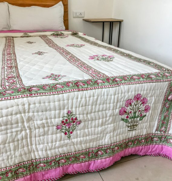 Hand Block Printed Cotton Quilt (Queen size) | Pink Dianthus flowers