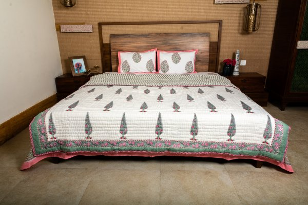 Hand Block Printed Cotton Quilt (Queen size) | Green Pine tree with Red Flower