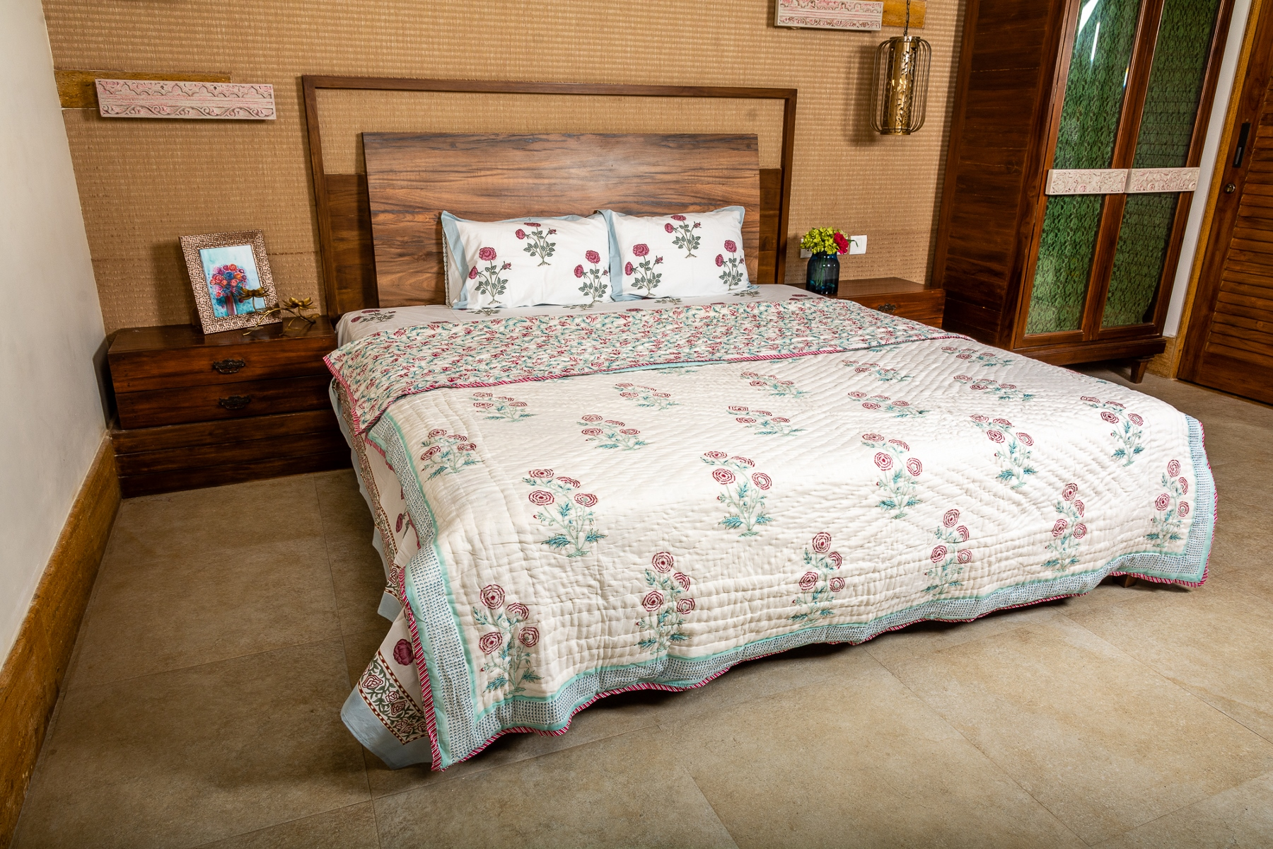 Hand Block Printed Cotton Quilt (Queen size) | Red Rose bush