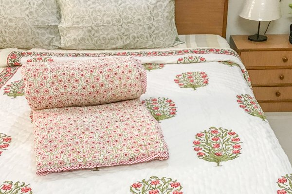Hand Block Printed Cotton Quilt (Single) | Red and Pink Flower Tree
