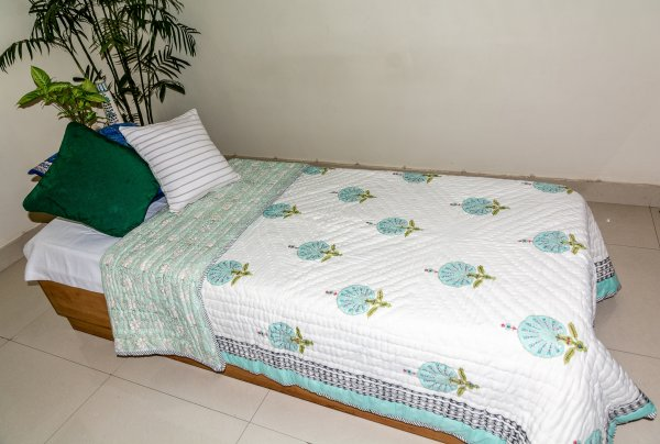 Hand Block Printed Cotton Quilt (Single) | Aqua Green Circular Flower